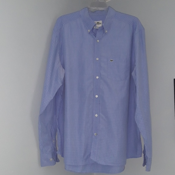 0bee0ba8 Lacoste Slim Fit Blue & White Button Down Shirt